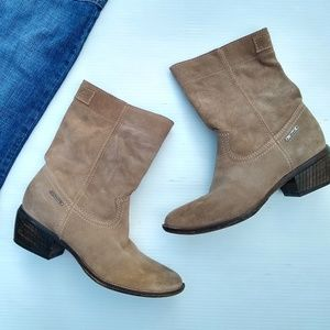 Diesel • mid-calf tan suede leather pull-on boots